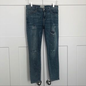 Current/Elliott Stiletto Distressed Skinny Jeans